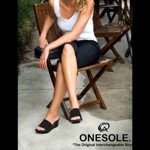 Onesole Elegance Black Wedges Slides Sandals 11